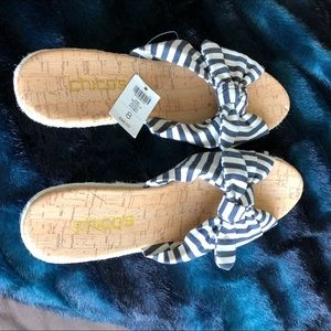 NWT Chico's Striped Wedge Slides